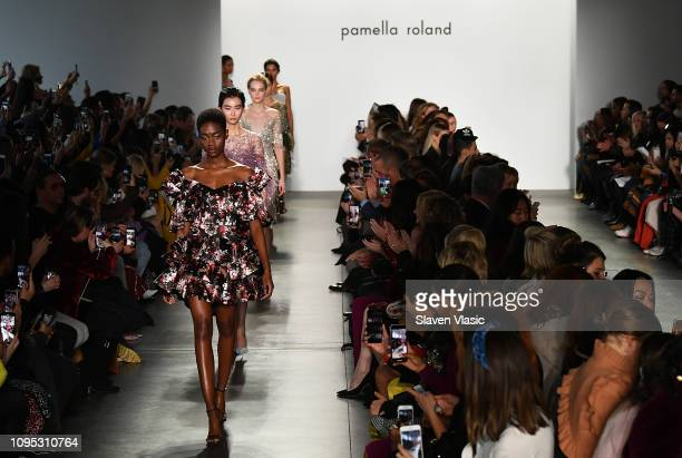 Models walk the runway at Pamella Roland fashion show during New York Fashion Week at Pier 59 on February 7 2019 in New York City
