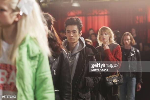 Models walk the runway at rehearsal at the Calvin Luo fashion show during New York Fashion Week on February 13 2018 in New York City