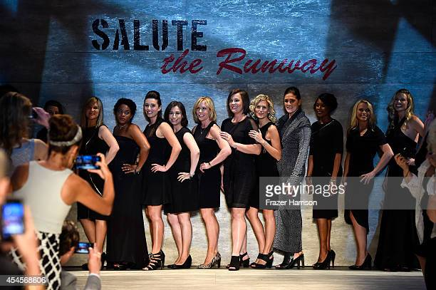 Models walk the runway at Salute The Runway Sponsored By Little Black Dress during MercedesBenz Fashion Week Spring 2015 at The Pavilion at Lincoln...