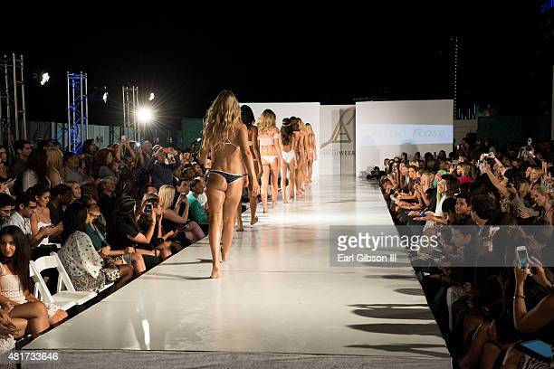 Models walk the runway at LA Swim Week Kick Off Event and Fashion Show at The London on July 23 2015 in West Hollywood California