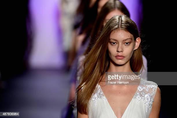 Models walk the runway at Tadashi Shoji fashion show during Spring 2016 New York Fashion Week The Shows at The Dock Skylight at Moynihan Station on...