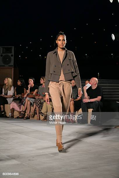 Models walk the runway at Thakoon Fashion Show September 2016 New York Fashion Week at 55 Water Street on September 8, 2016 in New York City.