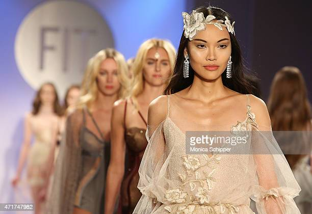 Models walk the runway at the 2015 FIT Future of Fashion Runway Show at The Fashion Institute of Technology on April 30 2015 in New York City