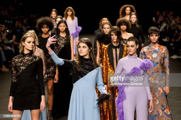Models walk the runway at The 2nd Skin Co fashion show during the Mercedes Benz Fashion Week Autumn/Winter 2019-2020 at Ifema on January 25, 2019 in...
