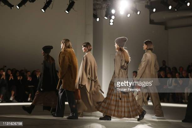 Models walk the runway at the Agnona show at Milan Fashion Week Autumn/Winter 2019/20 on February 23 2019 in Milan Italy