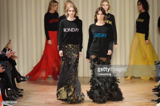 Models walk the runway at the Alberta Ferretti Autumn Winter 2017 fashion show during Milan Fashion Week on February 22 2017 in Milan Italy
