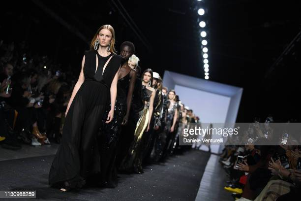 Models walk the runway at the Alberta Ferretti show at Milan Fashion Week Autumn/Winter 2019/20 on February 20, 2019 in Milan, Italy.
