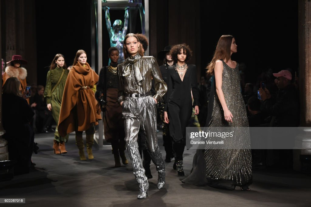 Models walk the runway at the Alberta Ferretti show during Milan Fashion Week Fall/Winter 2018/19 on February 21, 2018 in Milan, Italy.
