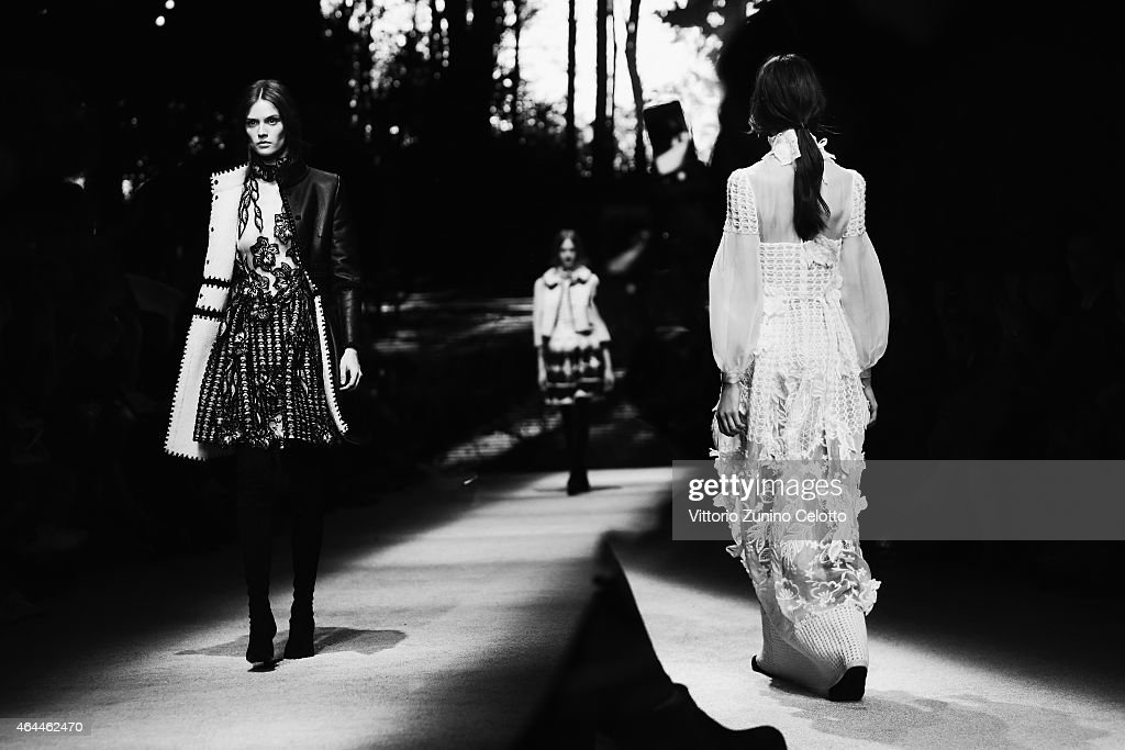 Models walk the runway at the Alberta Ferretti show during the Milan Fashion Week Autumn/Winter 2015 on February 25, 2015 in Milan, Italy.
