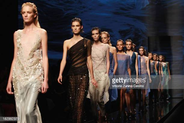 Models walk the runway at the Alberta Ferretti Spring/Summer 2013 fashion show as part of Milan Womenswear Fashion Week on September 19 2012 in Milan...