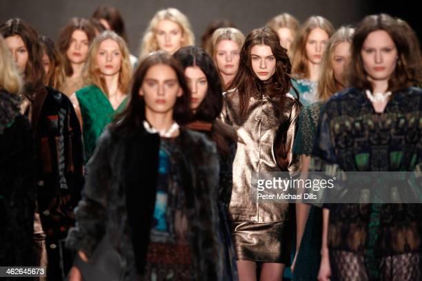 Models walk the runway at the Alena Akhmadullina presented by MercedesBenz and ELLE Backstage show during MercedesBenz Fashion Week Autumn/Winter...