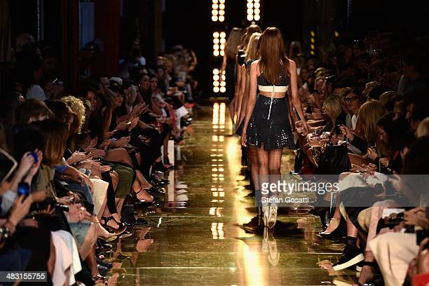 Models walk the runway at the Alex Perry show during MercedesBenz Fashion Week Australia 2014 at Carriageworks on April 7 2014 in Sydney Australia