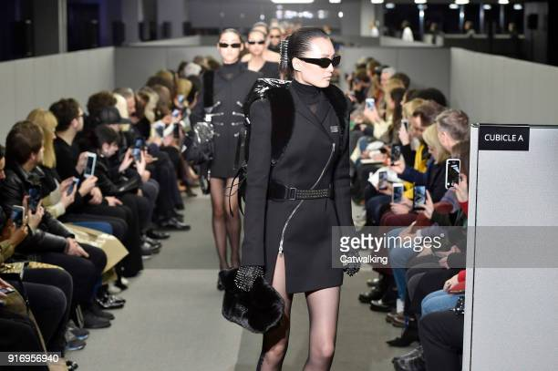 Models walk the runway at the Alexander Wang Autumn Winter 2018 fashion show during New York Fashion Week on February 10 2018 in New York United...