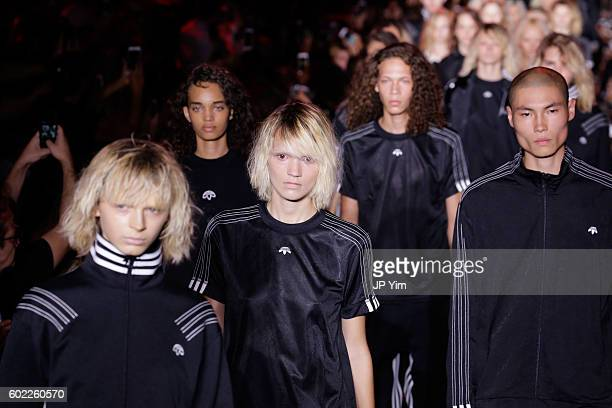 Models walk the runway at the Alexander Wang Spring 2017 fashion show during New York Fashion Week September 2016 at Pier 94 on September 10 2016 in...