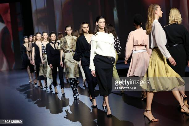 Models walk the runway at the Alexandre Blanc Fashion Show during the Altaroma 2021 on February 20, 2021 in Rome, Italy.
