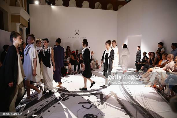 Models walk the runway at the Amber Feroz presentation during Dubai Fashion Forward April 2015 at Madinat Jumeirah on April 12 2015 in Dubai United...