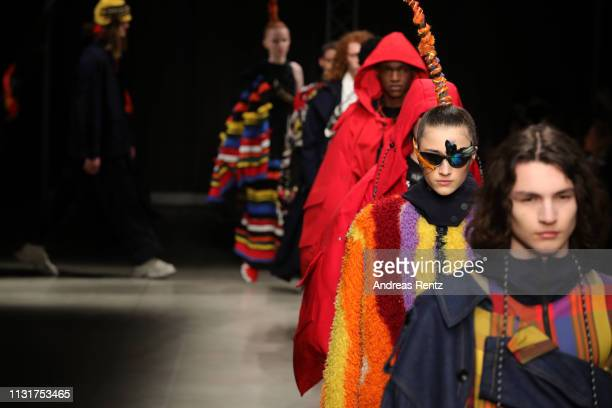 Models walk the runway at the Angel Chen show at Milan Fashion Week Autumn/Winter 2019/20 on February 24 2019 in Milan Italy