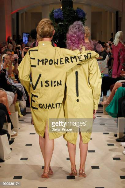 Models walk the runway at the Anja Gockel show during the Berlin Fashion Week Spring/Summer 2019 at Hotel Adlon on July 3 2018 in Berlin Germany