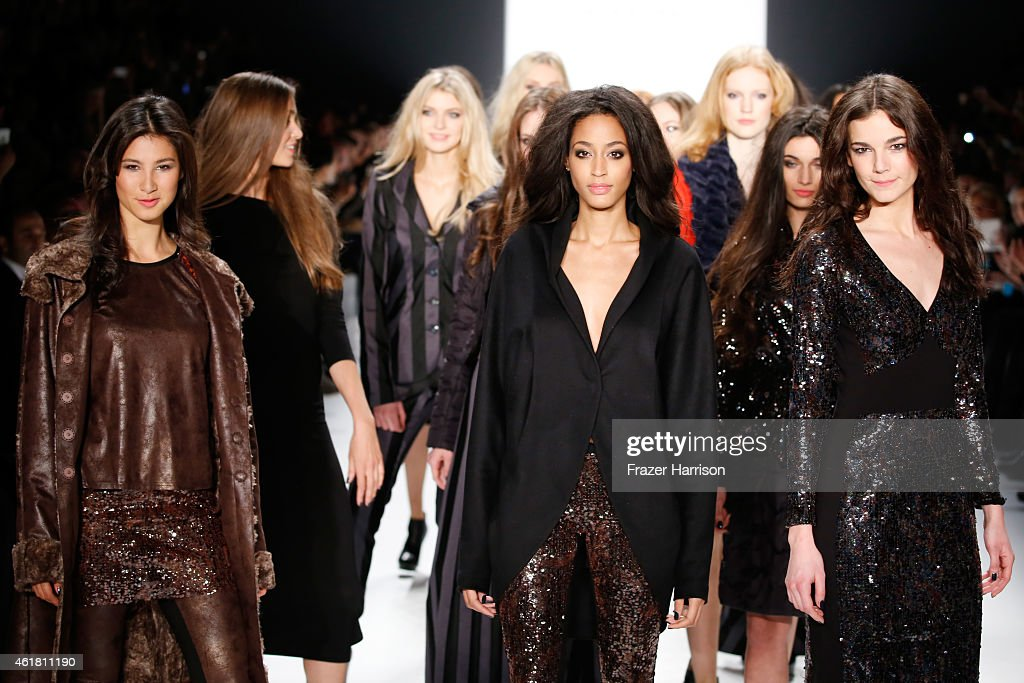 Models walk the runway at the Anja Gockel show during the Mercedes-Benz Fashion Week Berlin Autumn/Winter 2015/16 at Brandenburg Gate on January 20, 2015 in Berlin, Germany.