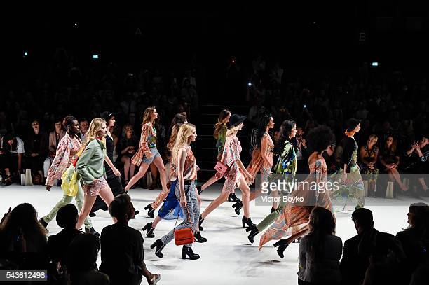 Models walk the runway at the Anja Gockel show during the MercedesBenz Fashion Week Berlin Spring/Summer 2017 at Erika Hess Eisstadion on June 29...