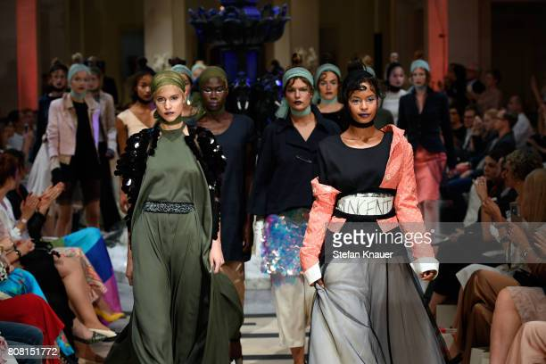 Models walk the runway at the Anja Gockel show during the MercedesBenz Fashion Week Berlin Spring/Summer 2018 at Hotel Adlon on July 4 2017 in Berlin...