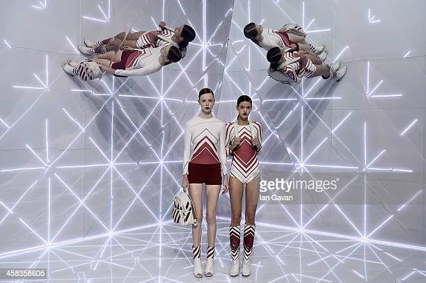 Models walk the runway at the Anya Hindmarch show during London Fashion Week Spring/Summer 2016 on September 22 2015 in London England
