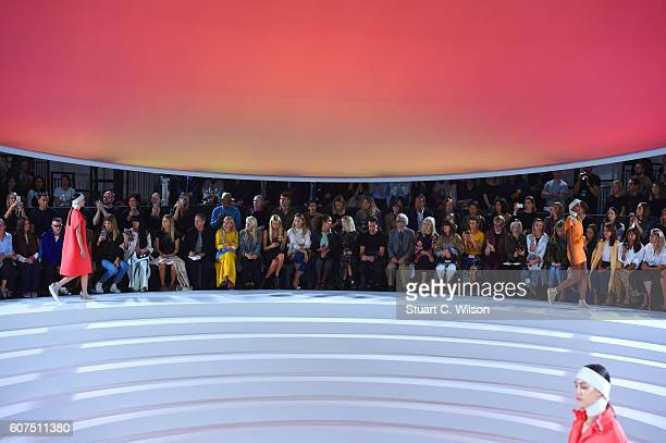 Models walk the runway at the Anya Hindmarch show during London Fashion Week Spring/Summer collections 2017 on September 18 2016 in London United...