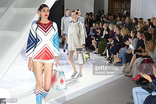 Models walk the runway at the Anya Hindmarch Spring/Summer 2016 show on September 22 2015 in London England