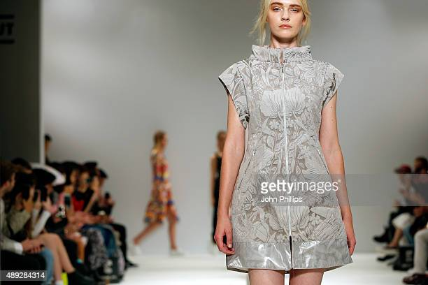 Models walk the runway at the Apu Jan show at Fashion Scout during London Fashion Week Spring/Summer 2016 on September 20 2015 in London England