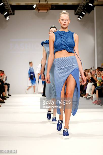 Models walk the runway at the Apu Jan show during London Fashion Week Spring Summer 2015 at Fashion Scout Venue on September 14 2014 in London England