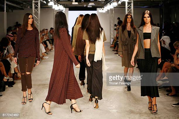 Models walk the runway at the Arwa Al Banawi show during Dubai collections March 2016 by Emaar at Burj Khalifa on March 24 2016 in Dubai United Arab...