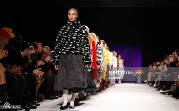 Models walk the runway at the Ashley Williams show during London Fashion Week February 2019 at the Ambika University of Westminster on February 15...