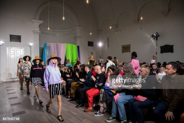 Models walk the runway at the Ashley Williams show during London Fashion Week September 2017 on September 15 2017 in London England
