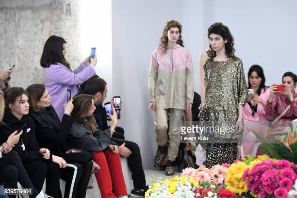 Models walk the runway at the Asli Filinta show during Mercedes Benz Fashion Week Istanbul at on March 29 2018 in Istanbul Turkey