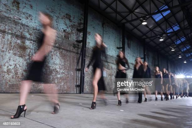 Models walk the runway at the Bec and Bridge show during MercedesBenz Fashion Week Australia 2014 at Blacksmith's Workshop Carriageworks on April 7...
