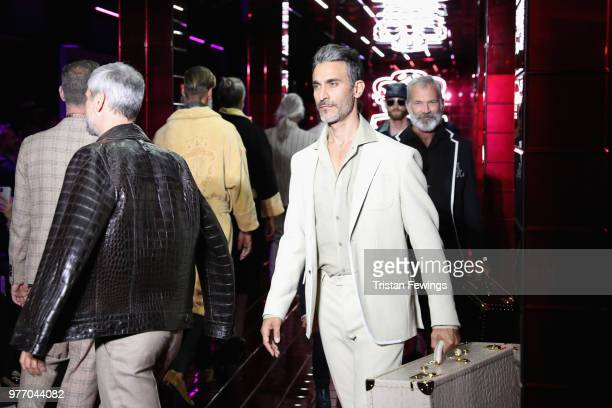 Models walk the runway at the Billionaire show during Milan Men's Fashion Week Spring/Summer 2019 on June 17 2018 in Milan Italy