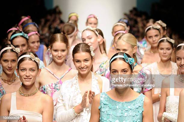 Models walk the runway at the Blugirl Spring Summer 2011 fashion show during Milan Fashion Week at on September 24, 2010 in Milan City.