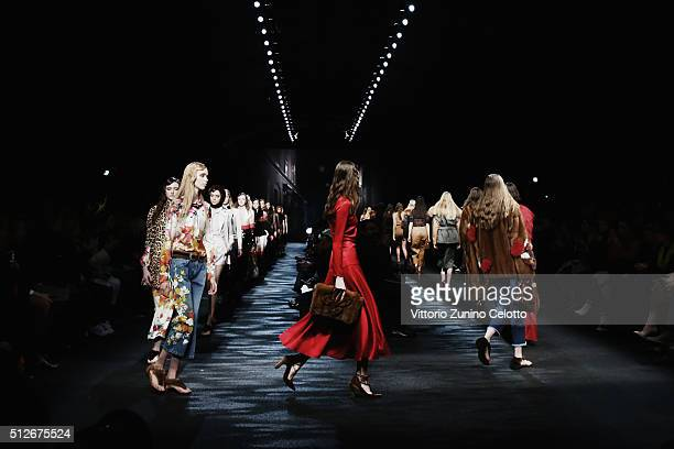 Models walk the runway at the Blumarine show during Milan Fashion Week Fall/Winter 2016/17 on February 27, 2016 in Milan, Italy.
