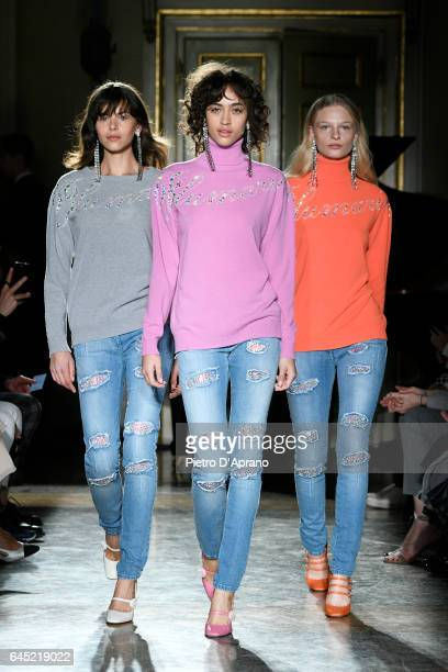 Models walk the runway at the Blumarine show during Milan Fashion Week Fall/Winter 2017/18 on February 25, 2017 in Milan, Italy.