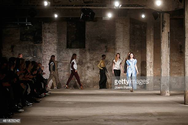 Models walk the runway at the Bobby Kolade show during the MercedesBenz Fashion Week Berlin Autumn/Winter 2015/16 at Halle am Berghain on January 20...