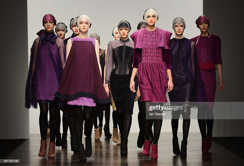 Models walk the runway at the Bora Aksu show during London Fashion Week Fall/Winter 2013/14 at Somerset House on February 15, 2013 in London, England.
