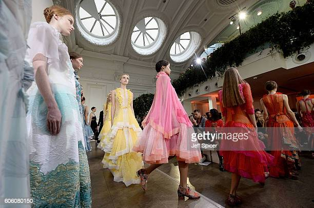 Models walk the runway at the Bora Aksu show during London Fashion Week Spring/Summer collections 2017 on September 16 2016 in London United Kingdom