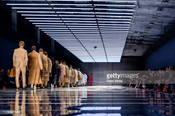 Models walk the runway at the Boss fashion show during New York Fashion Week on February 13, 2019 in New York City.
