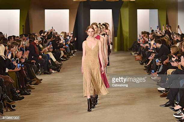 A models walk the runway at the Boss Women Autumn Winter 2016 fashion show during New York Fashion Week on February 17 2016 in New York United States