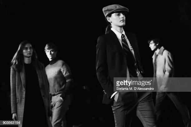 Models walk the runway at the Brooks Brothers show during the 93 Pitti Immagine Uomo at Fortezza Da Basso on January 10 2018 in Florence Italy