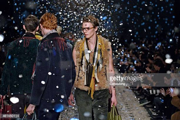 Models walk the runway at the Burberry Prorsum Autumn Winter 2015 fashion show during London Menswear Fashion Week on January 12, 2015 in London,...