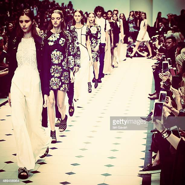 Models walk the runway at the Burberry Prorsum show during London Fashion Week Spring/Summer 2016 on September 21 2015 in London England
