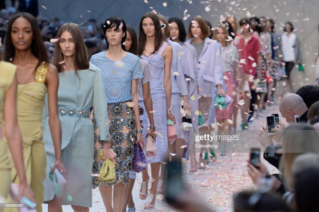 Models walk the runway at the Burberry Prorsum Spring Summer 2014 fashion show during London Fashion Week on September 16, 2013 in London, United Kingdom.
