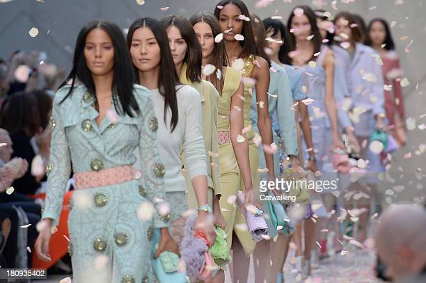 Models walk the runway at the Burberry Prorsum Spring Summer 2014 fashion show during London Fashion Week on September 16, 2013 in London, United...