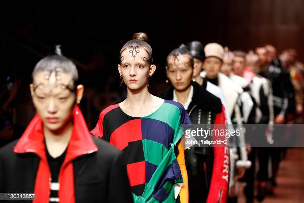 Models walk the runway at the Burberry show during London Fashion Week February 2019 on February 17 2019 in London England
